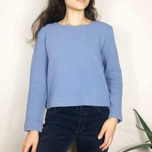 COS Honeycomb Boxy Long Sleeve Top Blue
